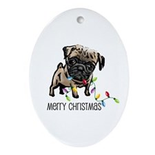 Pug Christmas Lights Oval Ornament