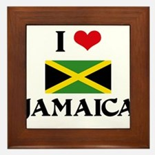 I HEART JAMAICA FLAG Framed Tile