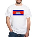 Cambodia Blank Flag White T-Shirt