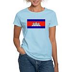 Cambodia Blank Flag Women's Pink T-Shirt