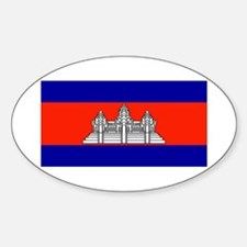 Cambodia Blank Flag Oval Decal