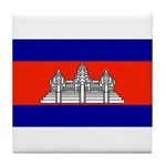 Cambodia Blank Flag Tile Coaster