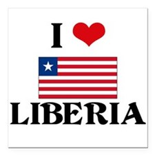 "I HEART LIBERIA FLAG Square Car Magnet 3"" x 3"""