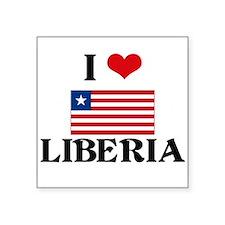 I HEART LIBERIA FLAG Sticker