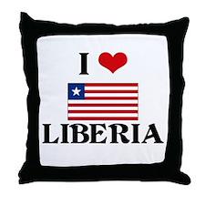I HEART LIBERIA FLAG Throw Pillow