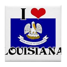 I HEART LOUISIANA FLAG Tile Coaster