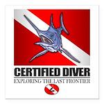 Certified Diver (Marlin) Square Car Magnet 3