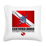 Certified Diver (Marlin) Square Canvas Pillow
