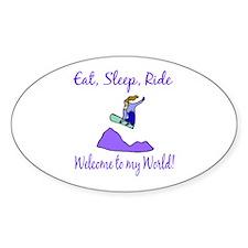 Eat, sleep, ride Oval Decal