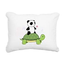 Cute Panda turtle flower riding cute small animals pand Rectangular Canvas Pillow