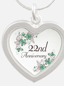 22nd Anniversary Keepsake Silver Heart Necklace