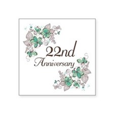 "22nd Anniversary Keepsake Square Sticker 3"" x 3"""