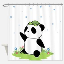 Turtle on a Panda Shower Curtain