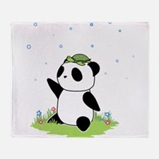 Turtle on a Panda Throw Blanket