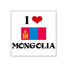 I HEART MONGOLIA FLAG Sticker