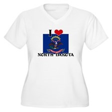 I HEART NORTH DAKOTA FLAG Plus Size T-Shirt