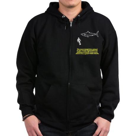 Great White Shark Man Zip Hoodie (dark)