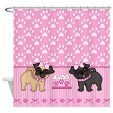 Pug Dogs And Paw Prints - Pink Shower Curtain