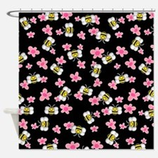 Bee Happy Floral Shower Curtain