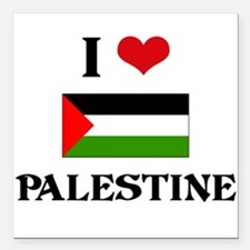 "I HEART PALESTINE FLAG Square Car Magnet 3"" x 3"""