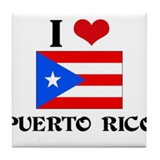 I HEART PUERTO RICO FLAG Tile Coaster