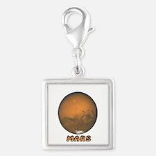 Mars Planet Silver Square Charm