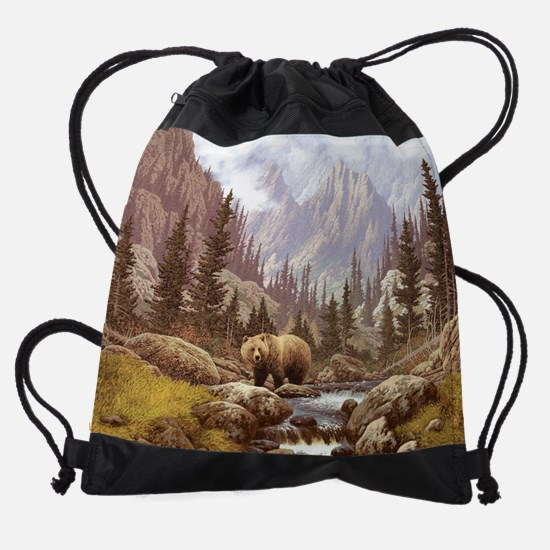 Grizzly Bear Landscape Drawstring Bag