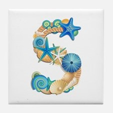 Beach Theme Initial S Tile Coaster