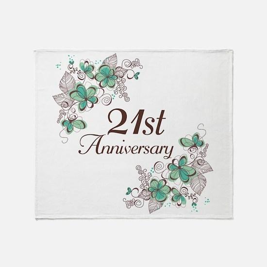 21st Anniversary Keepsake Throw Blanket