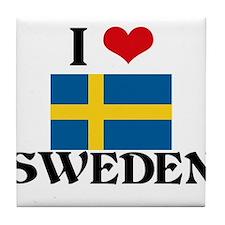 I HEART SWEDEN FLAG Tile Coaster