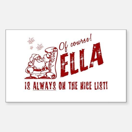 Nice List Ella Christmas Rectangle Decal