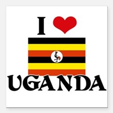 "I HEART UGANDA FLAG Square Car Magnet 3"" x 3"""