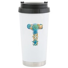 Beach Theme Monogram T Travel Mug