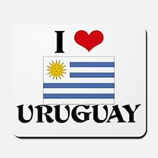 I HEART URUGUAY FLAG Mousepad