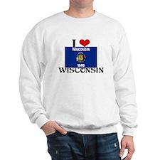 I HEART WISCONSIN FLAG Sweatshirt