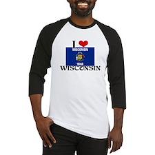 I HEART WISCONSIN FLAG Baseball Jersey