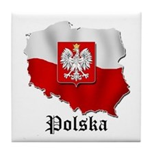Poland flag map Tile Coaster
