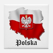 Poland flag map Tile Coaster