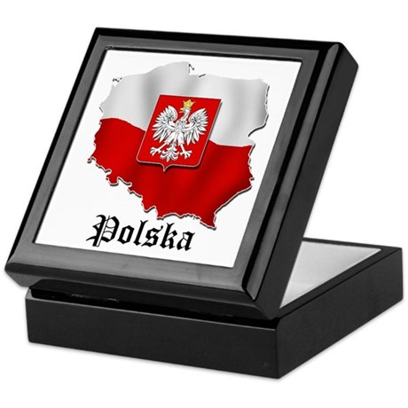 Poland flag map Keepsake Box