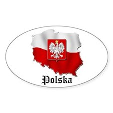 Poland flag map Oval Stickers