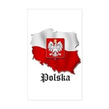 Poland flag map Rectangle Stickers
