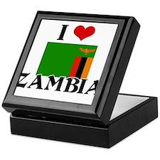 I HEART ZAMBIA FLAG Keepsake Box