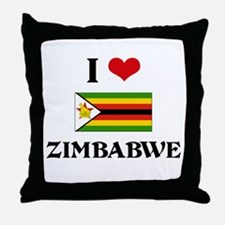 I HEART ZIMBABWE FLAG Throw Pillow