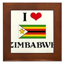 I HEART ZIMBABWE FLAG Framed Tile