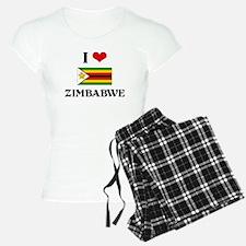 I HEART ZIMBABWE FLAG Pajamas
