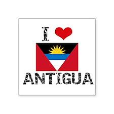 I HEART ANTIGUA FLAG Sticker