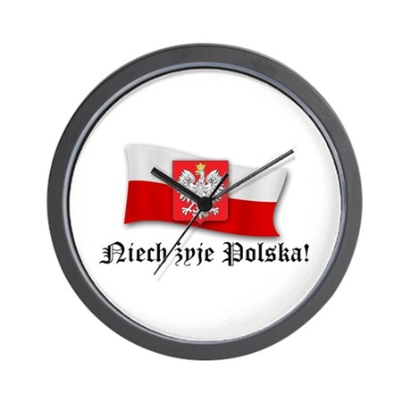 Poland flag and arms Wall Clock