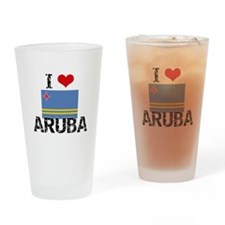 I HEART ARUBA FLAG Drinking Glass