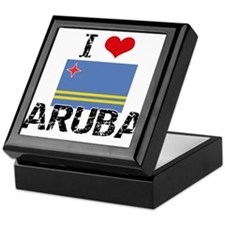 I HEART ARUBA FLAG Keepsake Box