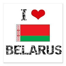 """I HEART BELARUS FLAG Square Car Magnet 3"""" x 3"""""""